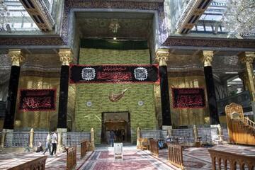 حرم حضرت عباس (ع) سیاهپوش عزای امام محمد باقر(ع) شد+تصاویر
