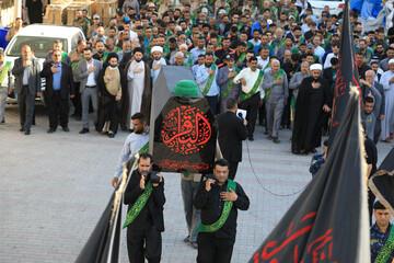 مراسم تشییع نمادین امام باقر(ع) در حرم مطهر عسکریین(ع) برگزار شد+تصاویر