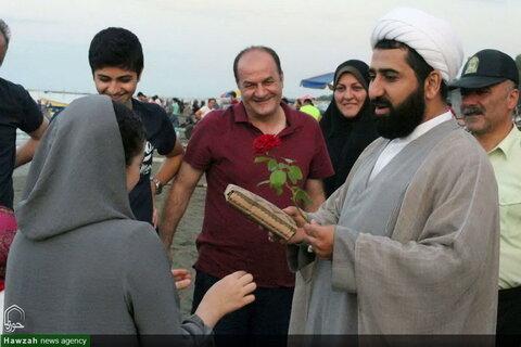 تصاویری از اقدام جالب امام جمعه اسالم در ترویج حجاب و عفاف در ساحل گیسوم
