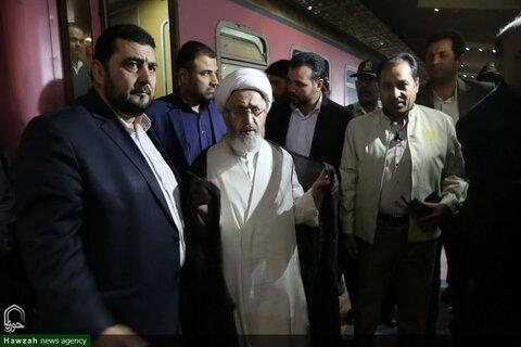تصاویر/ استقبال باشکوه از آیتالله سبحانی در راهآهن یزد