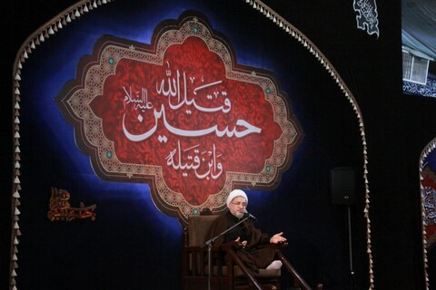 تصاویر/ مراسم عزاداری امام حسین(ع) در حسینه شهدای قم/ آیت الله اراکی