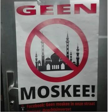 حمله اسلام ستیزان به مسجدی در هلند و نصب بنر ضداسلامی