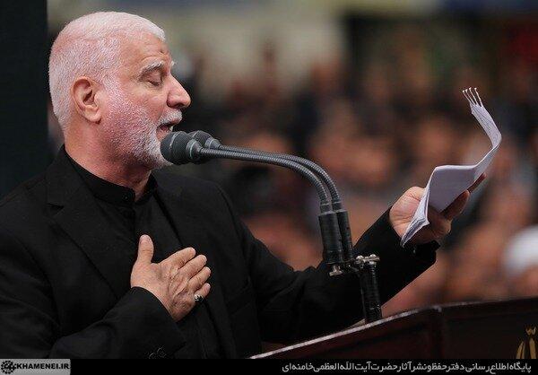 فیلم| مداحی حاج ابوبشیر النجفی در حضور رهبر انقلاب