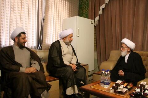 دیدار رئیس جامعة المصطفی با آیت الله نوری همدانی