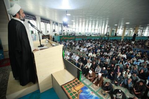 تصاویر/ حضور آیت الله اعرافی در  نماز جمعه زاهدان و بازدید از محل احداث حوزه علمیه سفیران هدایت