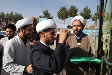 طلاب مدارس حوزه علمیه خراسان به پیاده روی باشکوه اربعین اعزام شدند