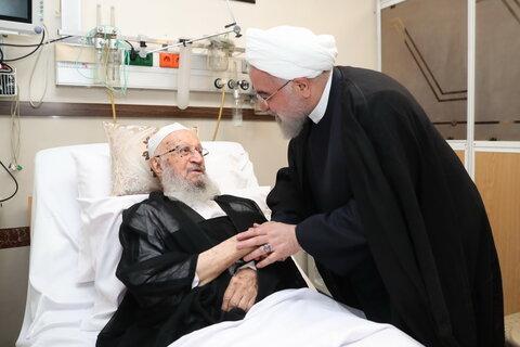 تصاویر/ عیادت رئیس جمهوری از آیت الله العظمی مکارم شیرازی