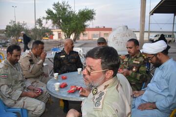 بازدید فرمانده هنگ مرزی قصر شیرین و همتای عراقی خود از مواکب مرزی خسروی و منذریه عراق