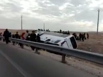 اتوبوس حامل زائران حسینی واژگون شد