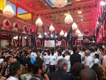 تصاویر/ عزاداری مواکب در حرم سیدالشهدا(ع) در ایام اربعین حسینی