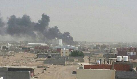 غارة لطيران تحالف العدوان في محافظة صعدة الحدودية