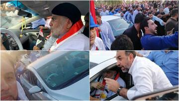 حضور مقتدی صدر با چهرهای متفاوت در جمع معترضان نجف + عکس