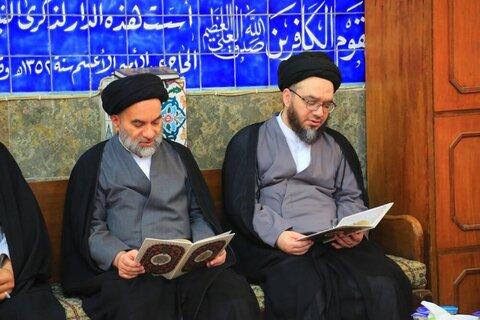 بالصور/ مجلس تأبيني للسيد جعفر مرتضى العاملي في حوزة النجف الأشرف
