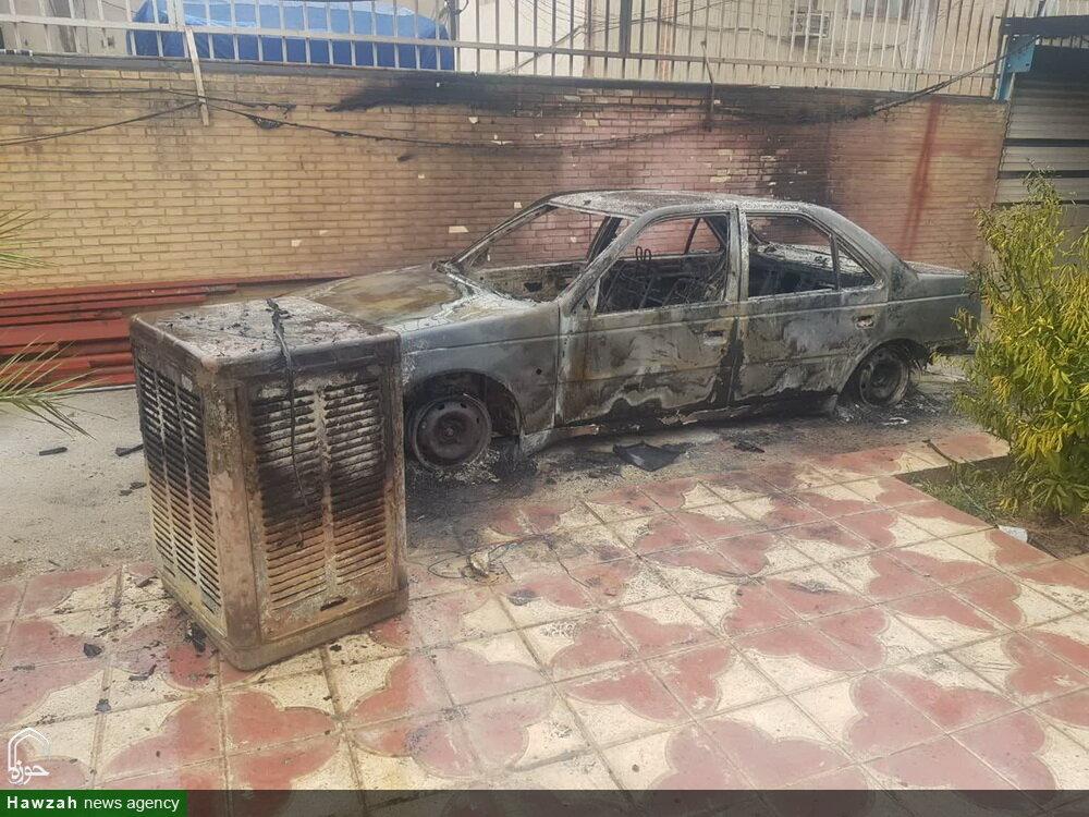 تصاویر/ حمله اراذل و اوباش به مدرسه علمیه صالحیه مکتب الصادق(ع) کازرون