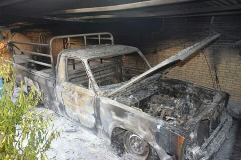 تصاویری از خسارت اغتشاشگران به حوزه علمیه کازرون