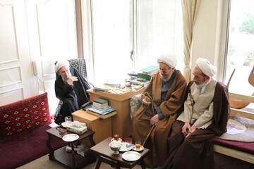 تصاویر/ عیادت اعضای جامعه مدرسین حوزه علمیه قم از آیت الله ناصری