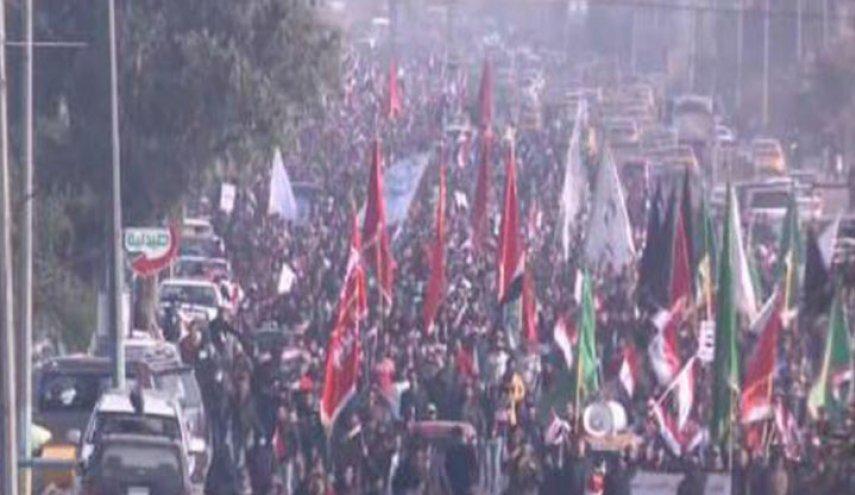 مردم بغداد در حمایت از رهنمودهای  آیتاللهالعظمی سیستانی تظاهرات کردند