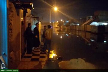 حضور شبانه امام جمعه اهواز برای پیگیری مشکل فاضلاب منطقه کوت عبدالله