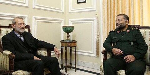 لاریجانی در دیدار فرمانده بسیج مستضعفین