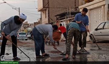 تصاویر شما/ امدادرسانی طلاب و روحانیون جهادی اهواز در مناطق آبگرفته اهواز
