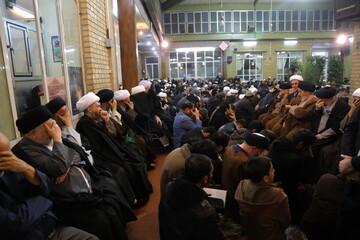 بالصور/ مجلس تأبين للفقيد آية الله السيد محمد مهدي الخلخالي في مكتب آية الله العظمى السيستاني بقم المقدسة