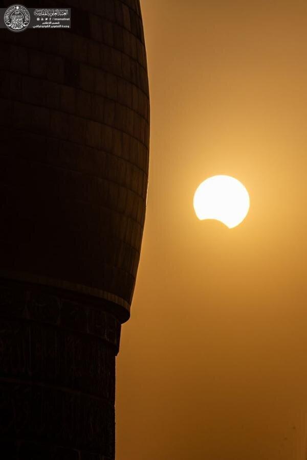 تصاویری از خورشید گرفتگی از جوار حرم حضرت امیرالمومنین (ع)