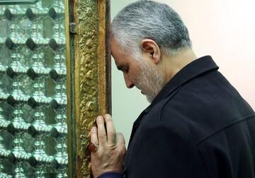 حرم مطهر رضوی در سوگ شهادت سردار سلیمانی سیاه پوش شد