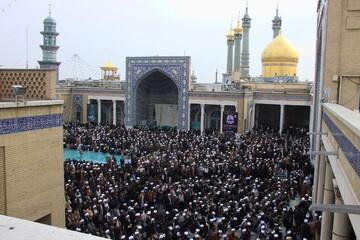 تصاویر/ تجمع ضد تروریستی حوزویان در مسجد اعظم قم -۲