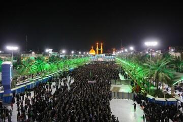 تصاویر/ حضور میلیونی مردم کربلا در تشییع پیکر سردار سلیمانی و المهندس در حرم امام حسین(ع)