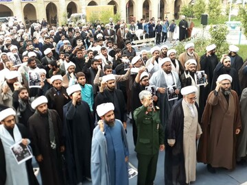 تصاویر/ اجتماع ضدآمریکایی حوزویان هرمزگان
