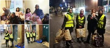 زنان مسلمان انگلستان در ایام کریسمس به بی خانمانها لباس گرم پوشاندند