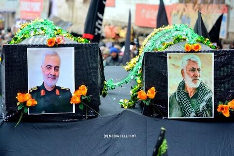 """تصاویر/ مراسم تشیع نمادین """"سرداران مقاومت"""" در کرگل"""