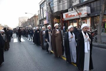 دسته عزاداری فاطمیه اول طلاب و اساتید مدرسه ایروانی تهران+ عکس