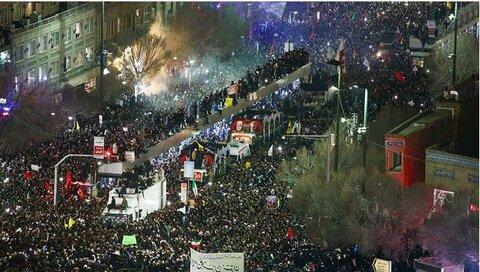 Millions gather for Soleimani, al-Muhandis funeral procession in Mashhad