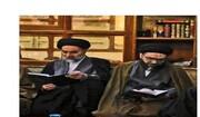 نجلا آية الله السيستاني يحضران مراسيم الفاتحة على روحي المهندس وسليماني في النجف +صور