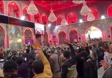 فیلم| شعار کلا کلا آمریکا مردم عراق بعد از خطبه های نماز جمعه حرم امام حسین(ع)