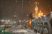 تصویری رپورٹ|حرم امام علی رضا علیہ السلام مشہد مقدس میں برف باری کے خوبصورت مناظر