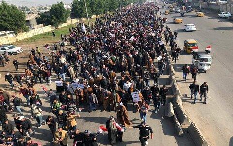 شیوخ عشایر اهل سنت در تظاهرات میلیونی جمعه عراق شرکت می کنند