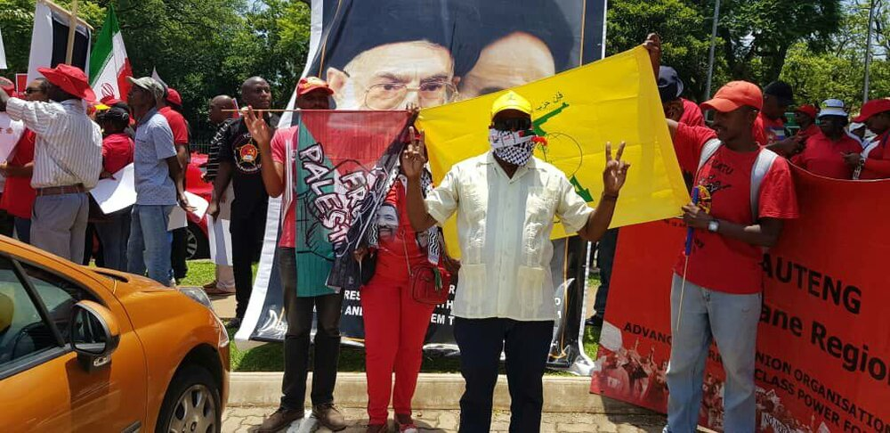 protest in front of US embassy in South Africa, Pretoria,  to support Iran and demand US withdrawal from Middle East,