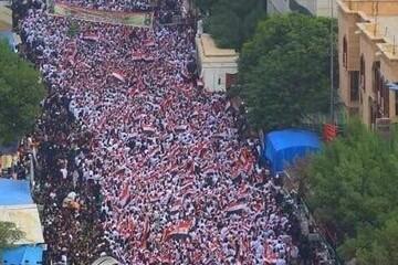 فیلم| تصاویر هوایی از تظاهرات میلیونی ضد آمریکایی امروز در بغداد