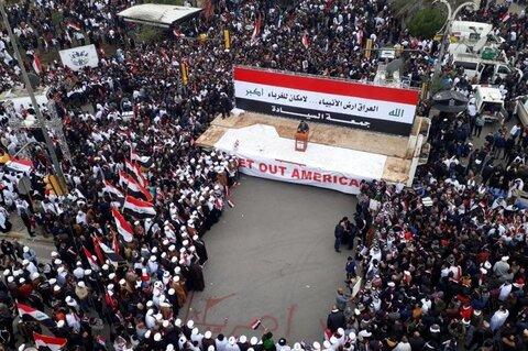 تظاهرات میلیونی عراقی ها در مخالفت با حضور آمریکا در این کشور + تصاویر