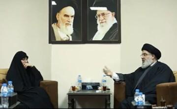 فیلم| دیدار و گفتوگوی صمیمی سید حسن نصرالله با دختر حاج قاسم سلیمانی