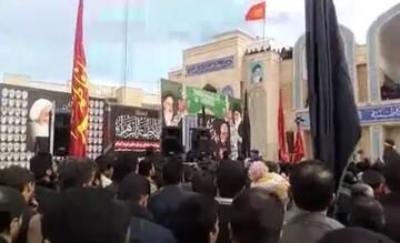 فیلم| خاکسپاری یک شهید گمنام در حوزه علمیه کاظمیه یزد