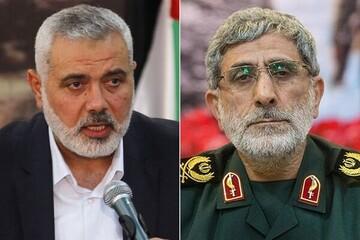 Qaani, Haniyeh discuss US new plot against Palestine