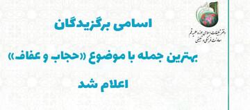 اسامی برگزیدگان مسابقه بهترین جمله با موضوع حجاب و عفاف اعلام شد