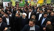 حضور رئیس جمهور در جمع راهپیمایان یوم الله ۲۲ بهمن