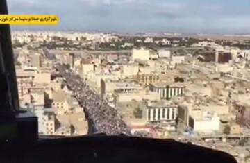 فیلم| تصاویر هوایی از حضور باشکوه مردم اهواز در راهپیمایی ۲۲ بهمن