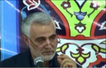 فیلم| بغض حاج قاسم سلیمانی با شعر طلبه شاعر