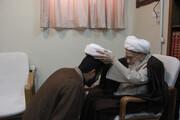 تصاویر/ عمامه گذاری جمعی از طلاب به دست آیت الله العظمی صافی