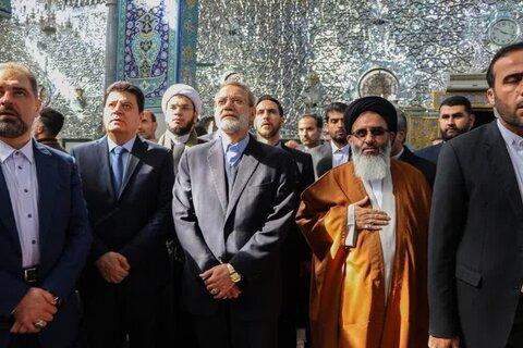 بالصور/ زيارة رئيس مجلس الشورى الإيراني لحرم السيدة زينب (ع) ولقاؤه بممثل قائد الثورة في سوريا